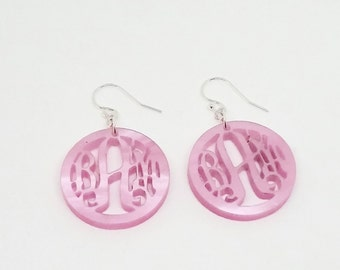 Pink Pearl Acrylic Monogram Earrings