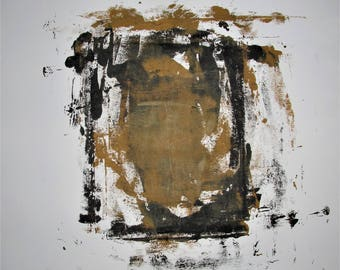 """Abstract Minimal  No. 0005  Acrylic on Paper 24x18"""" Modern Industrial"""