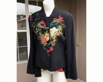 Vintage 80s Carole Little Art to Wear Jacket and Blouse Floral Art on Black with Metallic Thread Jacket size 12, Top size 6