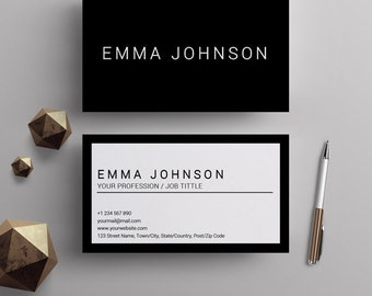 Professional business card template printable business cards printable business card template black and white diy minimalist business cards design premade business cheaphphosting Choice Image