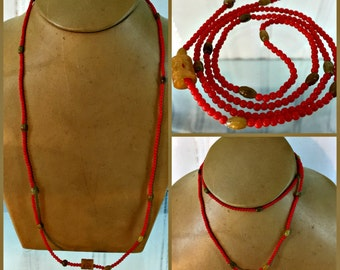 """Japanese 1950 Vivid Red 3mm Glass Beads and Yellowish Brown Jade Necklace,  9.2 Grams, 30"""" Long"""