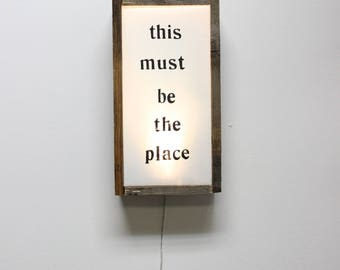 This Must be The Place Reclaimed Wooden Light Box Handmade Lighting Talking Heads Eclectic Lighting Light Art Ambient Light