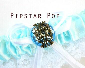 Baby Blue Garter with sky blue gem - Fantasy fun wedding bridal garter (6 garter color, 12 gem color option) Gothic Victorian Boudoir