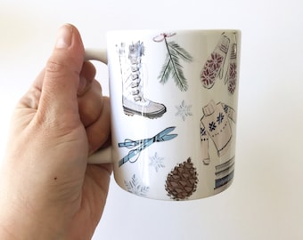 Apres Ski (Mug, Winter Fashion Illustration)