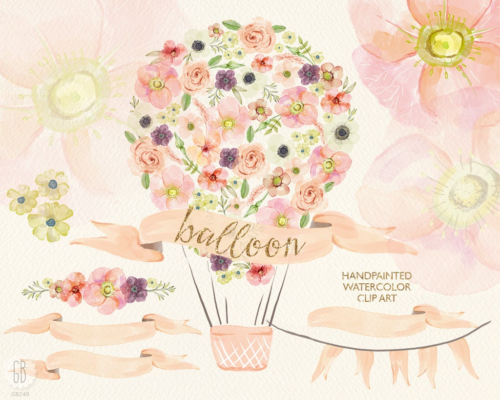Watercolor hot air balloon pastel flowers roses anemone
