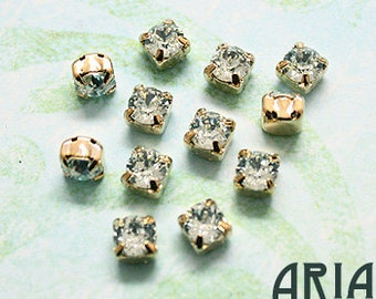 LIGHT AZORE: Swarovski SS29 6.5mm 17704 Xilion Gold Plated Two Hole Sew-On Slider Bead Component (12)