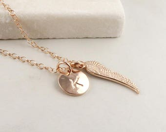 Rose Gold Wing Necklace Personalized, Angel Wing Initial Necklace, remembrance jewelry