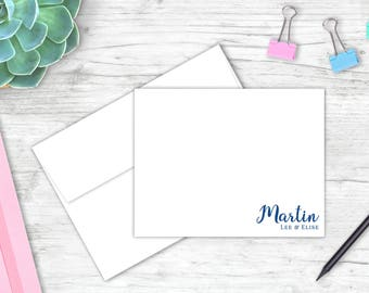Personalized Couples Stationery Set   Set of 10 Flat Note Cards   Personalized Note Card Set   Wedding Gift   Couple Stationery   FH012