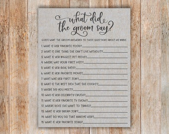 Grey What Did The Groom Say Bridal Shower Game. What Did The Groom Say. Printable What Did The Groom Say.  Bridal Shower Games. Download