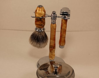 Shaving Kit, Safety Razor, Flame Box Elder, with Bowl and All Natural Driftwood Shaving Soap