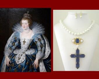 Renaissance Necklace , Renaissance Brooch, Tudor Brooch, Renaissance Jewelry, Tudor Jewelry, Reproduction,  Anne of Austria Portrait Replica