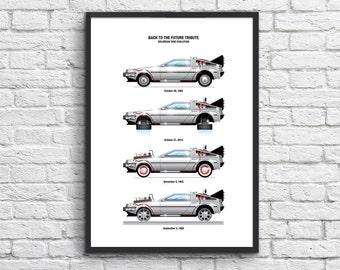 Art-Poster 50 x 70 cm - Delorean DMC-12  (Back to the Future)