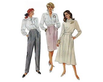 "1980's McCall's 3953 Woman's Straight Skirt, Four Gore Skirt, Pants Size 12 || Waist 26 1/2""/ 67cm 