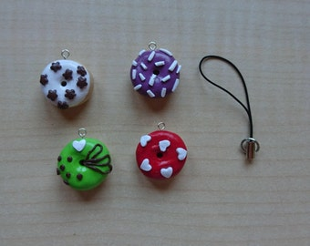 Mini Donuts, donuts, keychain, charm, handmade, red, purple, white, green, handmade, clay polymer