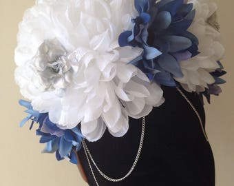 Blue and silver flower crown, costume headpiece