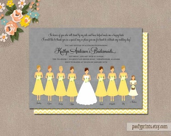 Bridesmaids Luncheon Invitation / Printable Invitations with customized colors / Bridal Brunch digital invitations // Kaitlyn