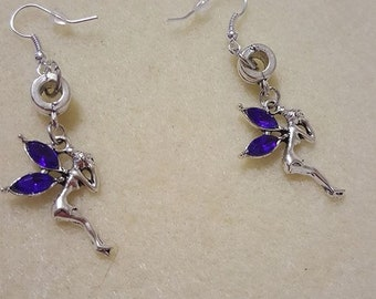 Blue Winged Fairy Earrings