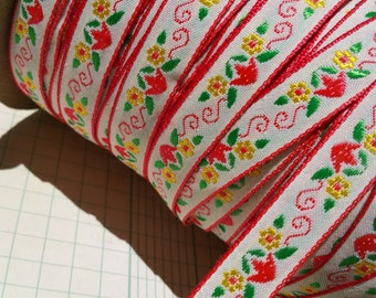 "Vintage Jacquard Trim - Tulip Flower Pattern - Red Green Yellow Sewing Woven Ribbon - 1/2"" Wide"