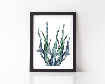 Seaweed Art Print - art print, digital art print, ocean prints, seaweed prints, seaweed art print, ocean decor, watercolour print