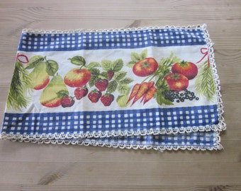 Vintage tablecloth with fruits