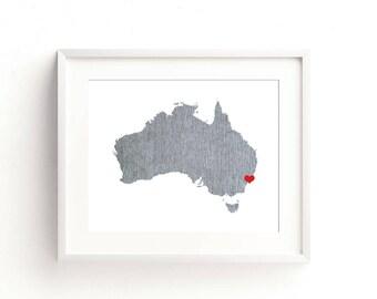 Australia Art Print - Custom Personalized Heart Print - Custom location - Hometown Wall Art Gift Souvenir Mission