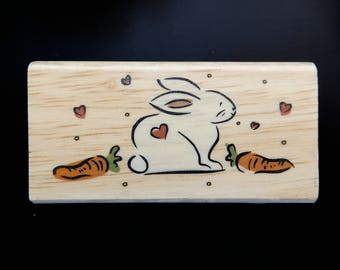 BUNNY With CARROTS CMC Wood Mount Rubber Stamp