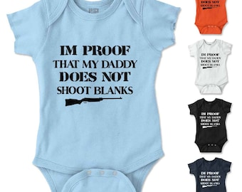 Shoot Blanks New Parents Baby Shower Gifts Funny Saying Baby Romper Bodysuit