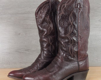 Vintage Dan Post Black Cherry Cowboy Boots 8 D