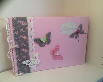 Album or guestbook for newborn baby pink