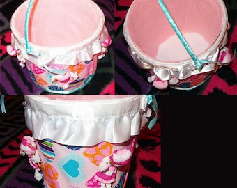 Buckets-Recycled handmade with fabric-1 Free Bonus available- Buyer request customization available