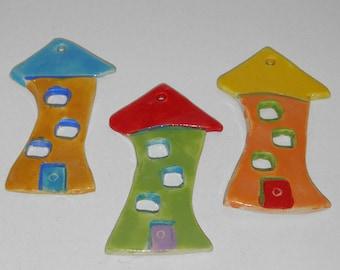 """3 Pieces Handmade Ceramic Tile Houses 9.5cm (3.7"""") Home Decoration Ornaments - Different Colors"""