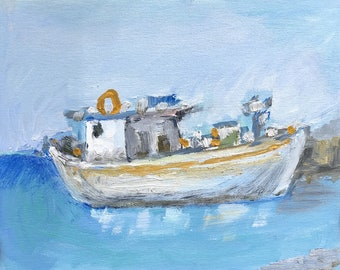 Oil Painting of a Traditional Fishing Boat