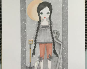 Original art Wednesday Addams lowbrow fantasy art