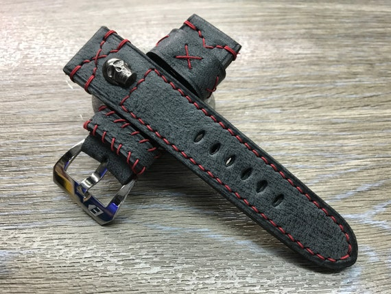24mm watch band, leather watch Band, Black watch band, Leather Watch Strap, 24mm watch strap, 26mm watch band, Skull, Red, FREE SHIPPING