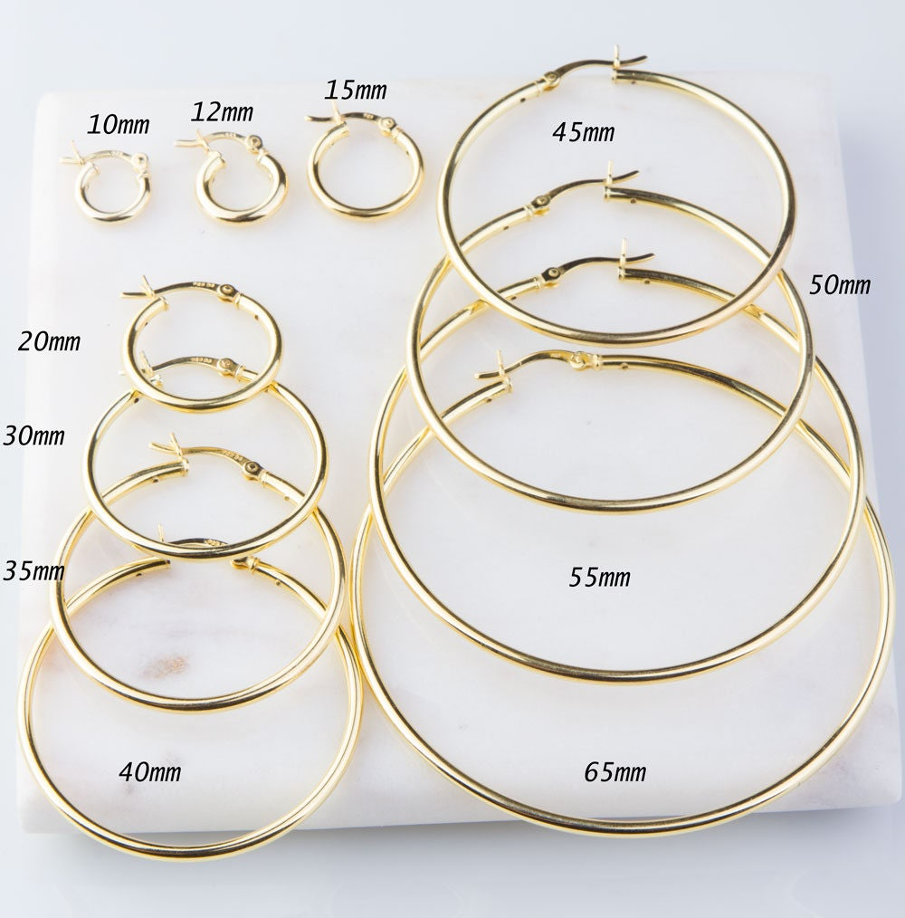 Heavy Gold Plated Over Sterling Silver Hoop Earring