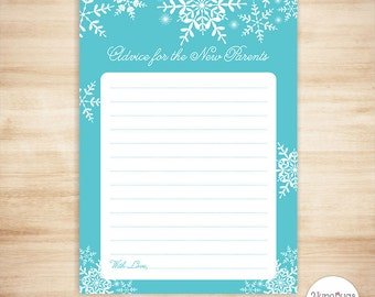 Winter Advice for Mommy Card, Parent Advice Card, Advice for Mommy to be, Advice for Parents to be, Printable Shower Game, Blue Snowflakes