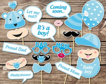 Baby Shower Photo Props  Boy baby shower Photo Booth Props  Printable Photo Booth Props  Baby Boy Printable Party Props baby shower