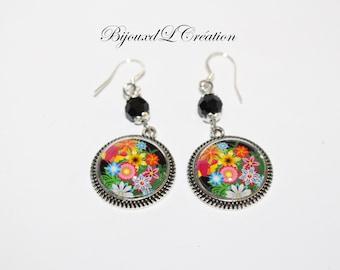 Flowers on Black colored earrings