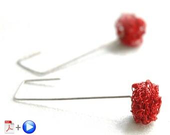 Wire crochet cube earrings pattern - ONLINE  VIDEO plus PDF pattern