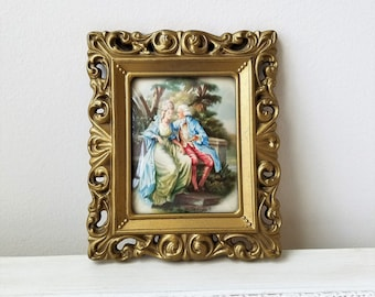 Vintage Woman Man Courting Couple Art Print In Ornate Gold Frame Convex Bubble Glass By Amsterdam Holland, French Lovers, Marie Antoinette