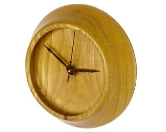 Wall Clock, Turned Wood Clock, Mulberry Wood Clock