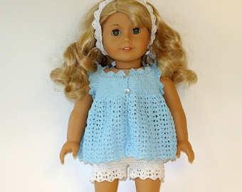 Instant Download - PDF Doll Crochet Pattern 27 - Top, Shorts and Hairband for American Girl Doll or similar 18 inch Doll