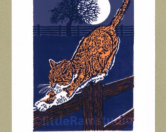 Marmalade Cat linocut print, Limited Edition Hand Pulled Linocut Print