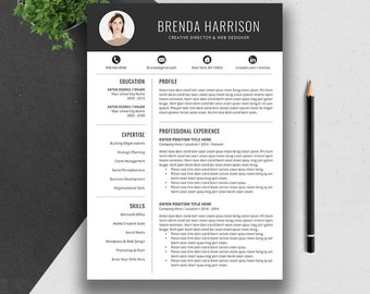 Creative Resume Template, Cover Letter, Word, US Letter, A4, CV Template, Professional, Modern Teacher Resume, Instant Download, BRENDA