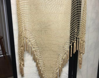 Vintage Beaded tassel shoulder shawl