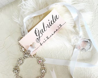 Custom Calligraphy Name Tags-wedding favor tags-custom gift tags-luxury calligraphy tags-bridesmaid gift tags-blush place cards