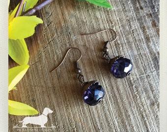 Purple Drop. Dangle Earrings -- (Classic, Simple, Elegant, Victorican, Feminine, Romantic, Vintage-Style, Bridesmaid Gift For Her Under 10)