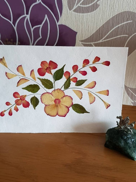 Handmade blank pressed flower floral card symetrical design