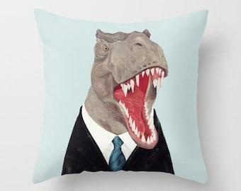 T Rex THROW PILLOW, Dinosaur Decor, Light Blue, Dinosaur Cushion, Tyrannosaurus in a Suit