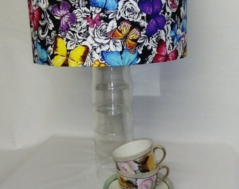 Colourful Butterfly Print Drum Lampshade